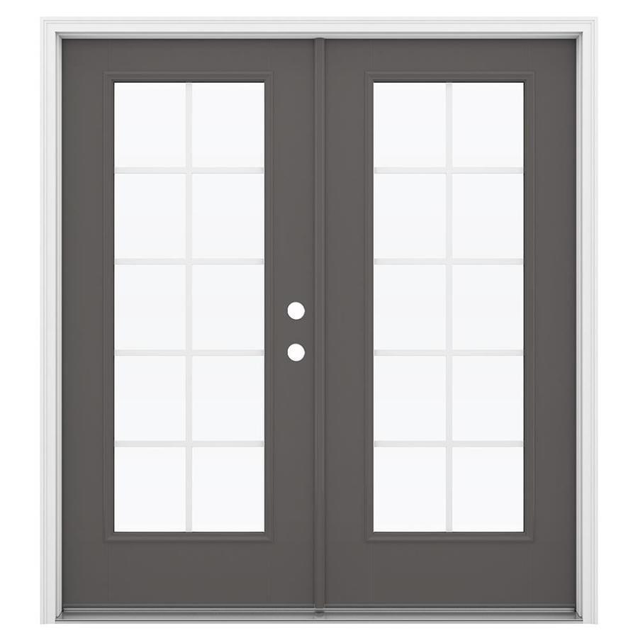 ReliaBilt 71.5-in Grilles Between the Glass Timber Gray Fiberglass French Inswing Patio Door