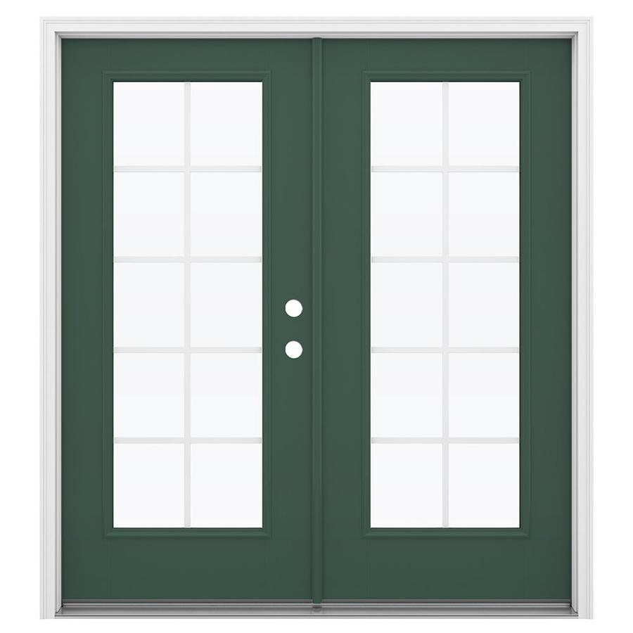 ReliaBilt 71.5-in Grilles Between the Glass Evergreen Fiberglass French Inswing Patio Door