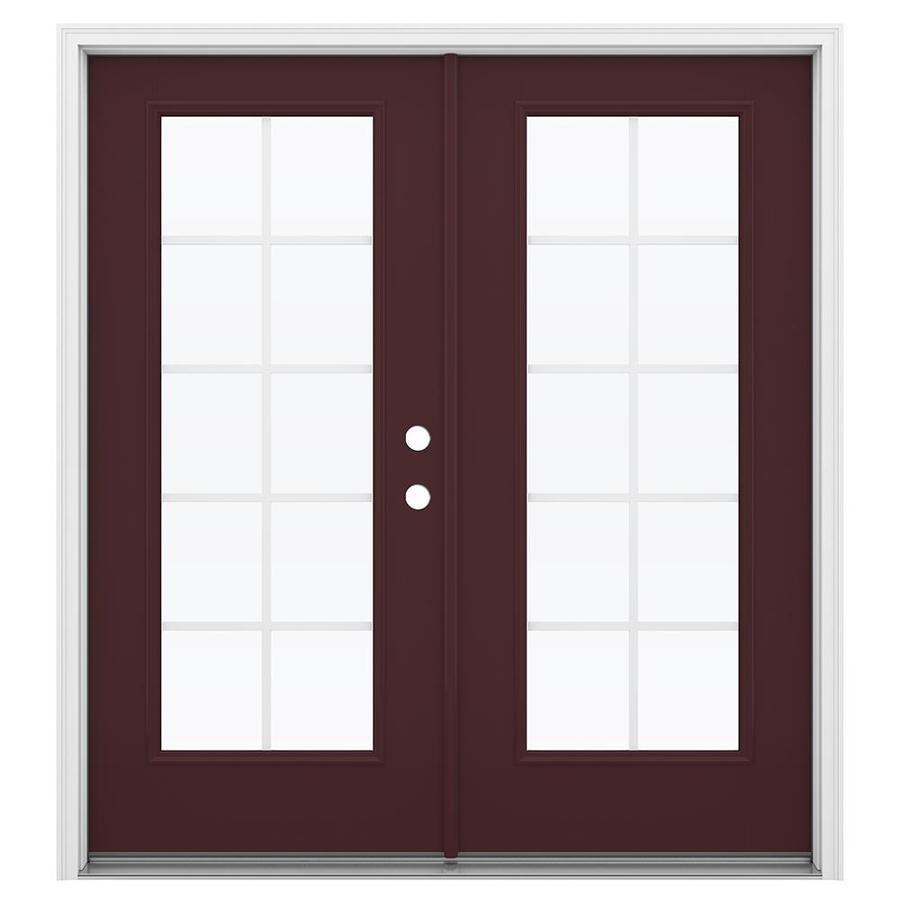 ReliaBilt 71.5-in Grilles Between the Glass Currant Fiberglass French Inswing Patio Door