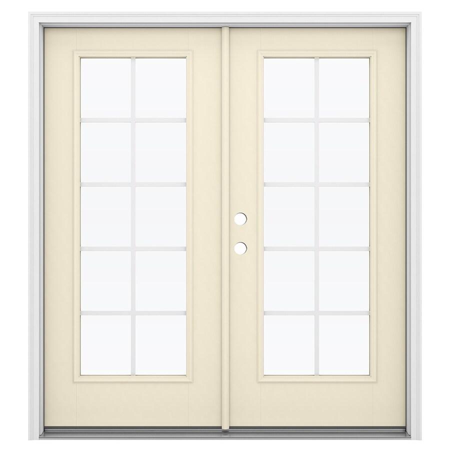 ReliaBilt 71.5-in Grilles Between the Glass Bisque Fiberglass French Inswing Patio Door