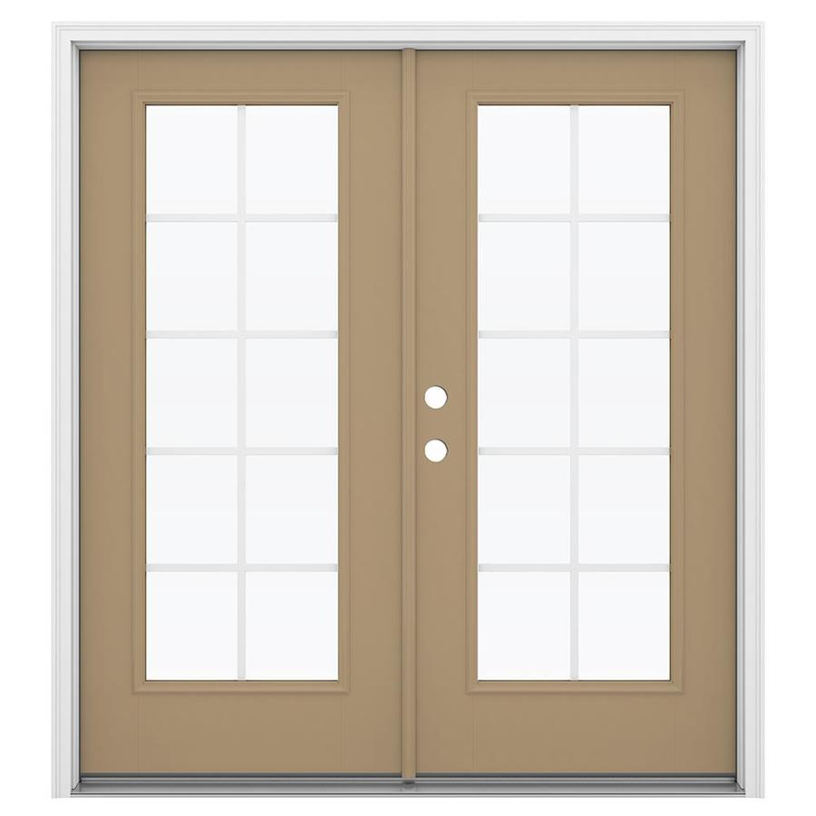 ReliaBilt 71.5-in x 79.5-in Grilles Between the Glass Right-Hand Inswing Brown Fiberglass French Patio Door