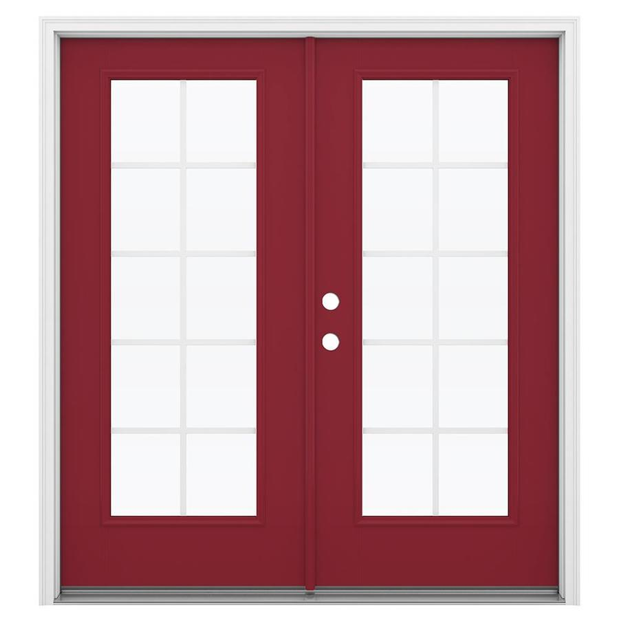 ReliaBilt 71.5-in x 79.5-in Grilles Between the Glass Right-Hand Inswing Red Fiberglass French Patio Door