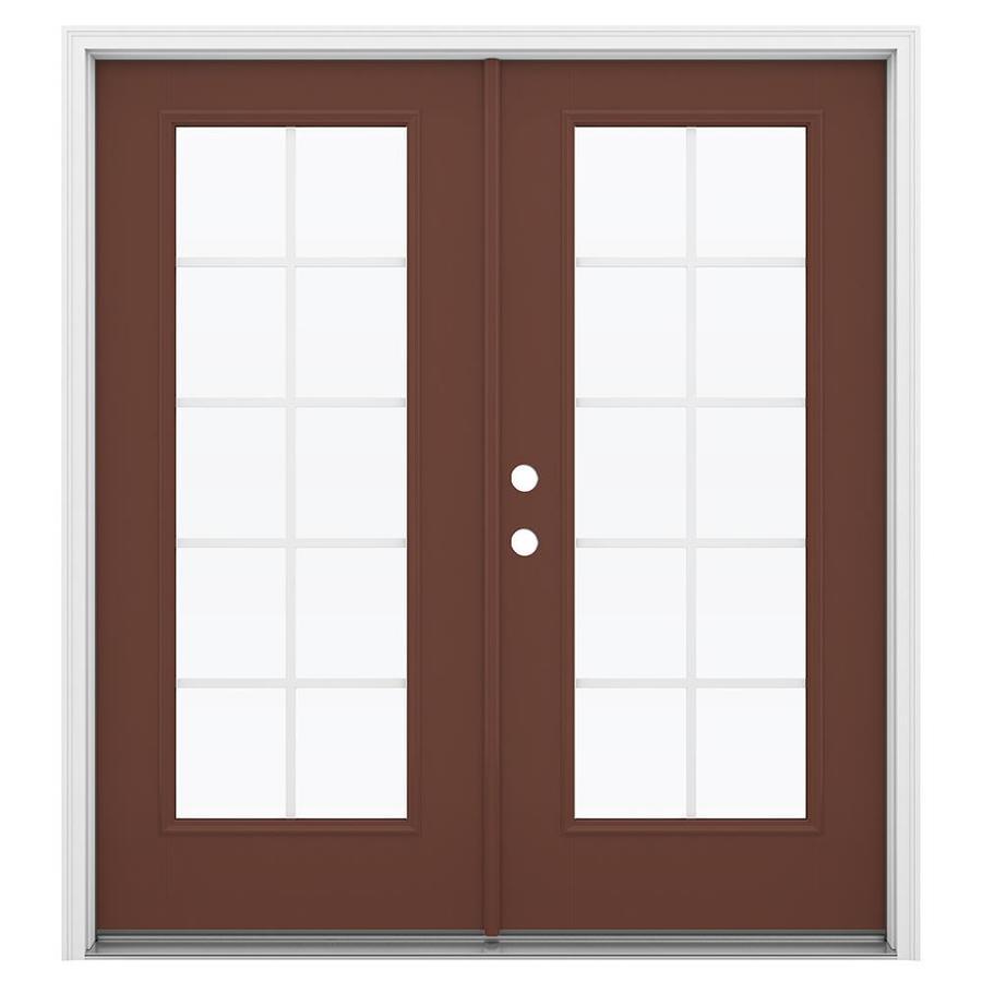 ReliaBilt 71.5-in Grilles Between the Glass Foxtail Fiberglass French Inswing Patio Door