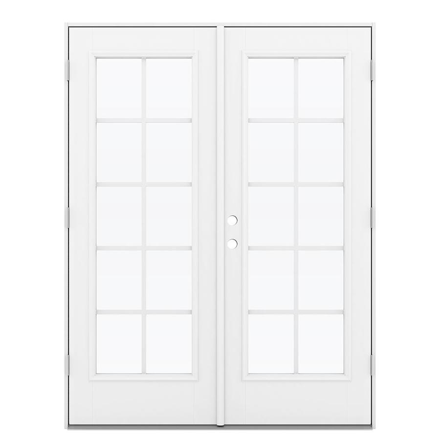 ReliaBilt 59.5-in x 79.5-in Grilles Between the Glass Left-Hand Outswing White Fiberglass French Patio Door