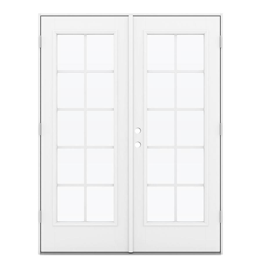 ReliaBilt 59.5-in Grilles Between the Glass Primed Fiberglass French Outswing Patio Door