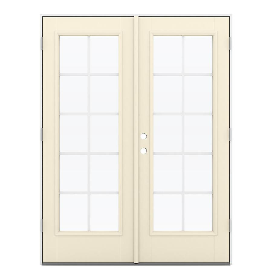 ReliaBilt 59.5-in Grilles Between the Glass Bisque Fiberglass French Outswing Patio Door