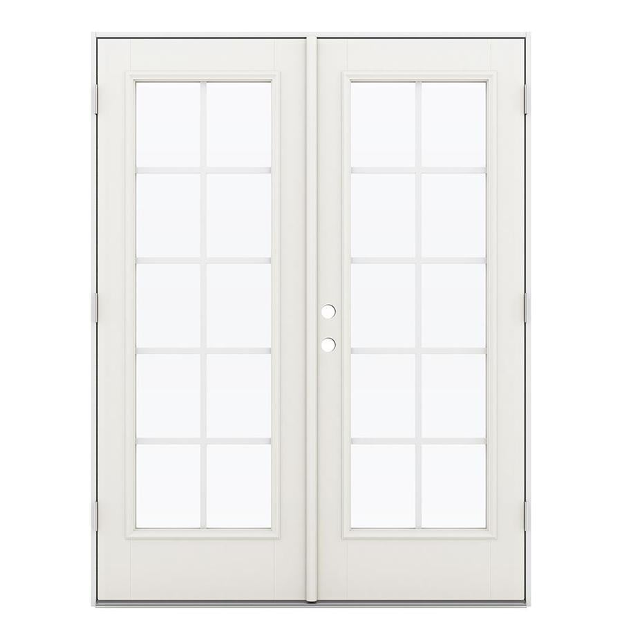 ReliaBilt 59.5-in x 78.625-in Grilles Between the Glass Left-Hand Outswing Fiberglass French Patio Door