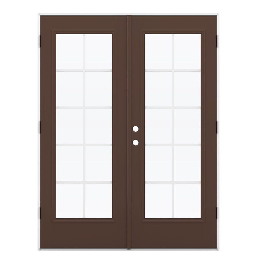 ReliaBilt 59.5-in Grilles Between the Glass Chococate Fiberglass French Outswing Patio Door