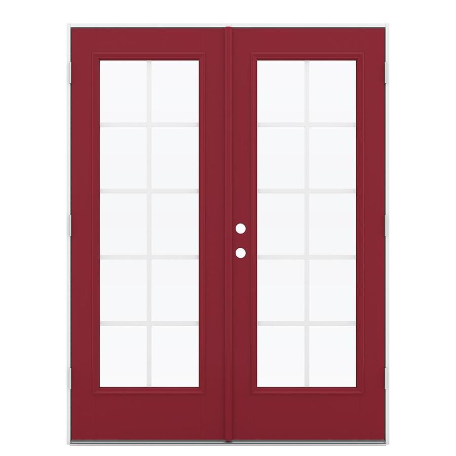 ReliaBilt 59.5-in Grilles Between the Glass Roma Red Fiberglass French Outswing Patio Door