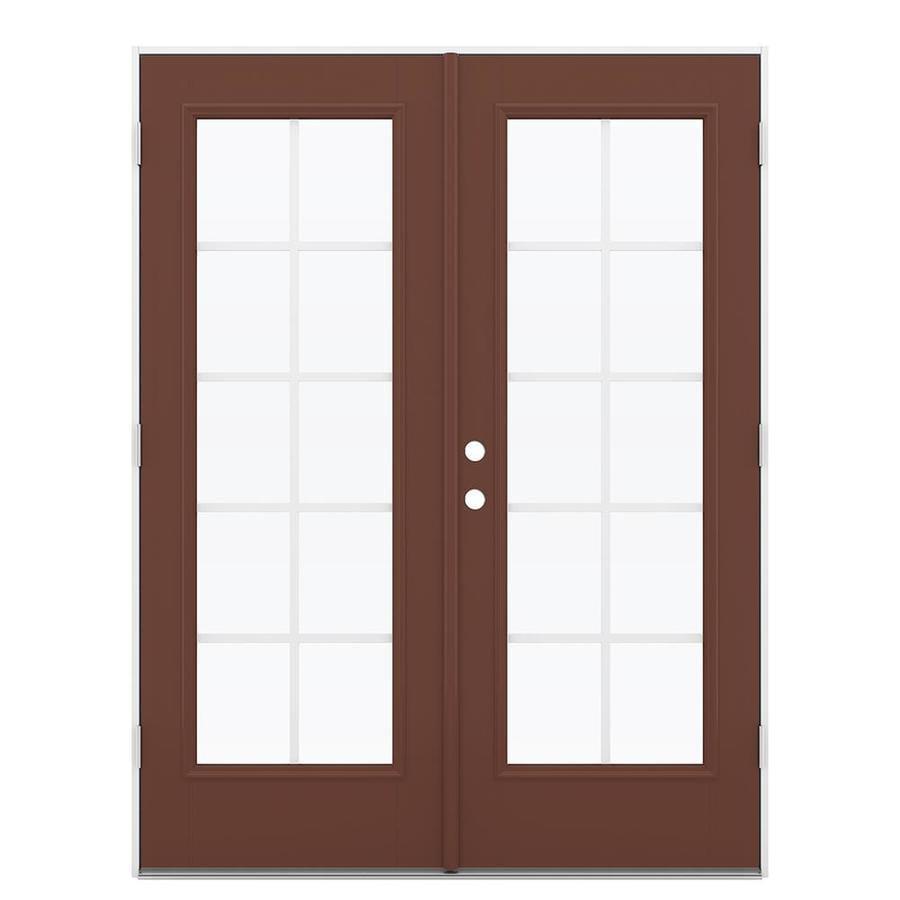 ReliaBilt 59.5-in Grilles Between the Glass Foxtail Fiberglass French Outswing Patio Door
