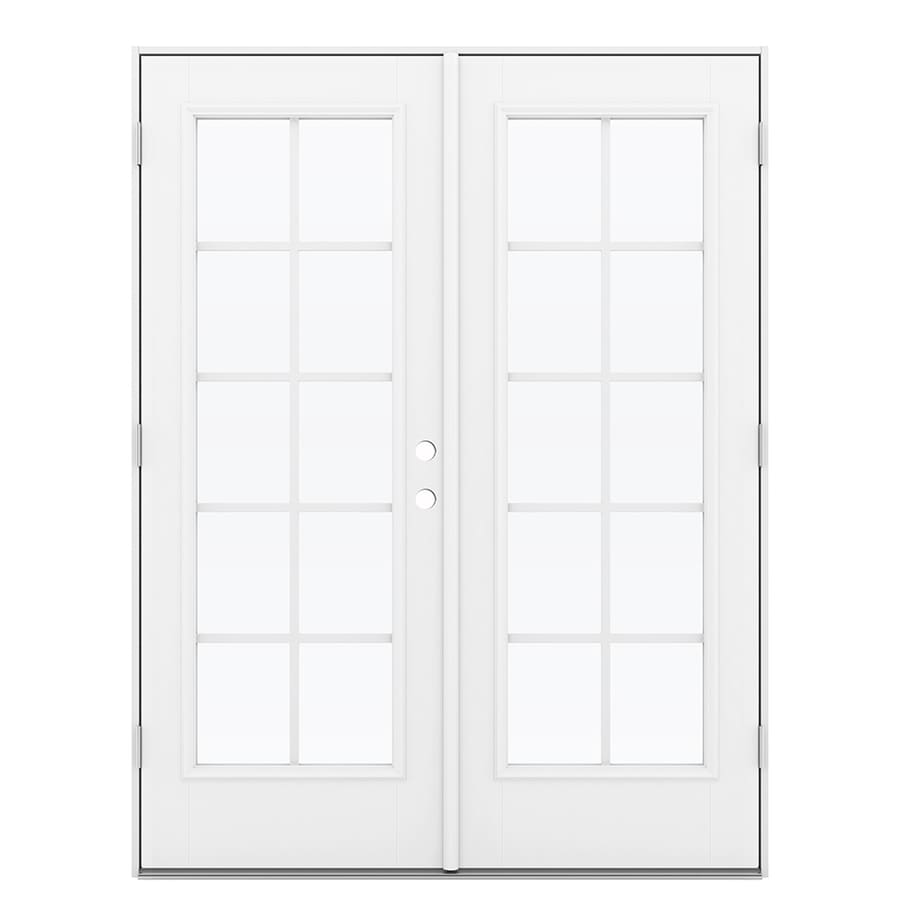 ReliaBilt 59.5-in x 79.5-in Grilles Between the Glass Right-Hand Outswing White Fiberglass French Patio Door