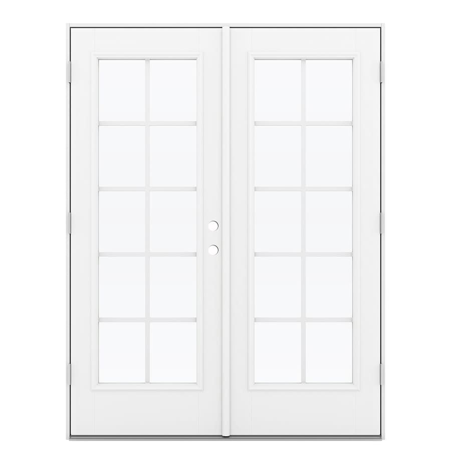 ReliaBilt 59.5-in Grilles Between the Glass Arctic White Fiberglass French Outswing Patio Door