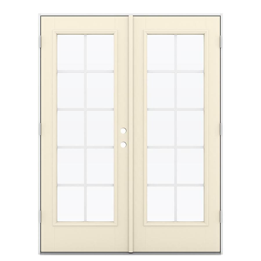 ReliaBilt 59.5-in x 79.5-in Grilles Between the Glass Right-Hand Outswing Off-white Fiberglass French Patio Door