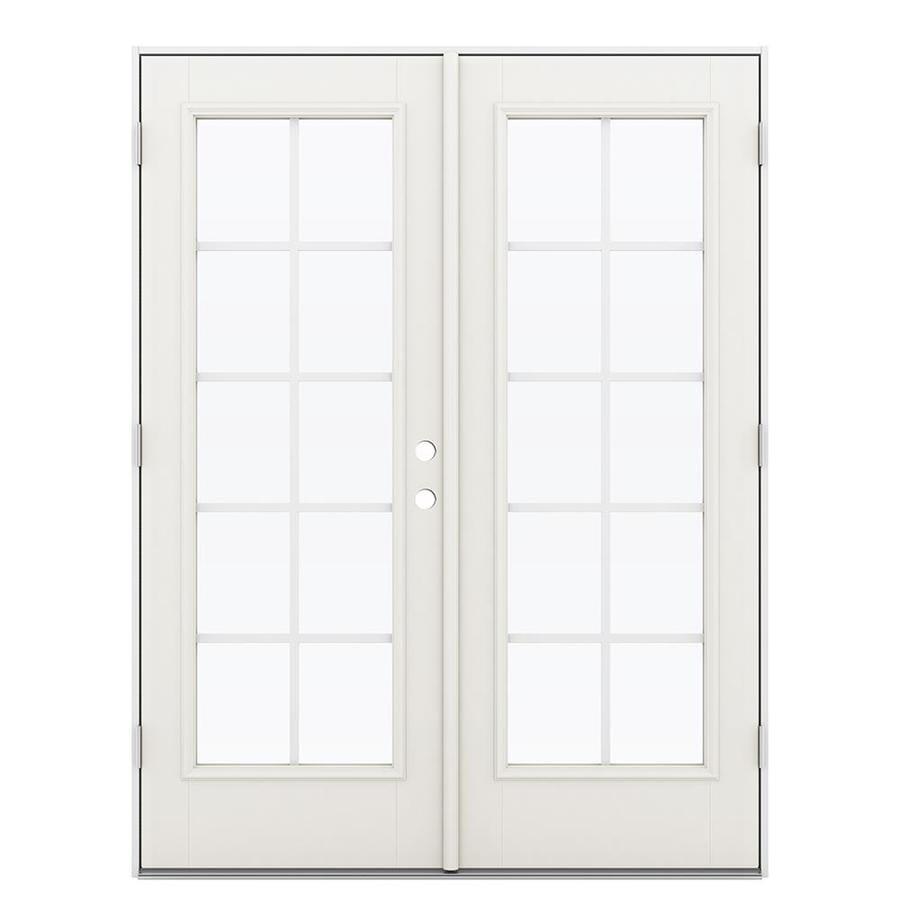 ReliaBilt 59.5-in Grilles Between the Glass Sandy Shore Fiberglass French Outswing Patio Door