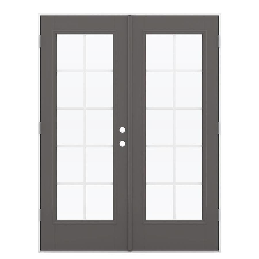 ReliaBilt 59.5-in Grilles Between the Glass Timber Gray Fiberglass French Outswing Patio Door