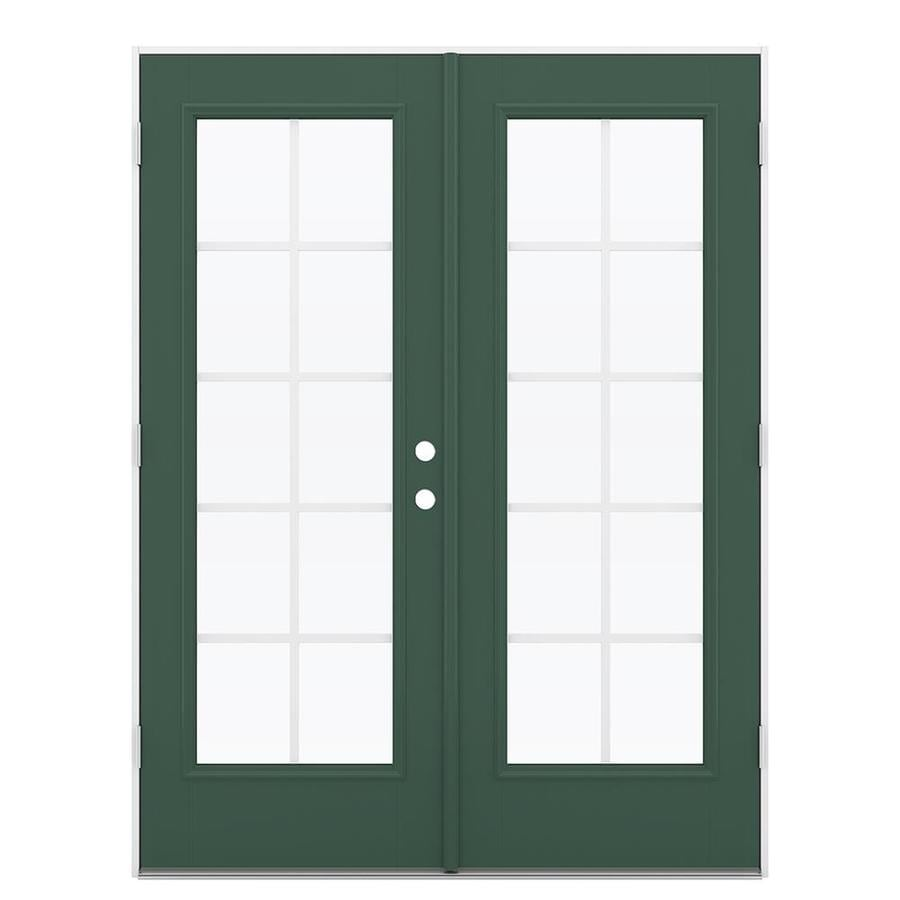ReliaBilt 59.5-in Grilles Between the Glass Evergreen Fiberglass French Outswing Patio Door