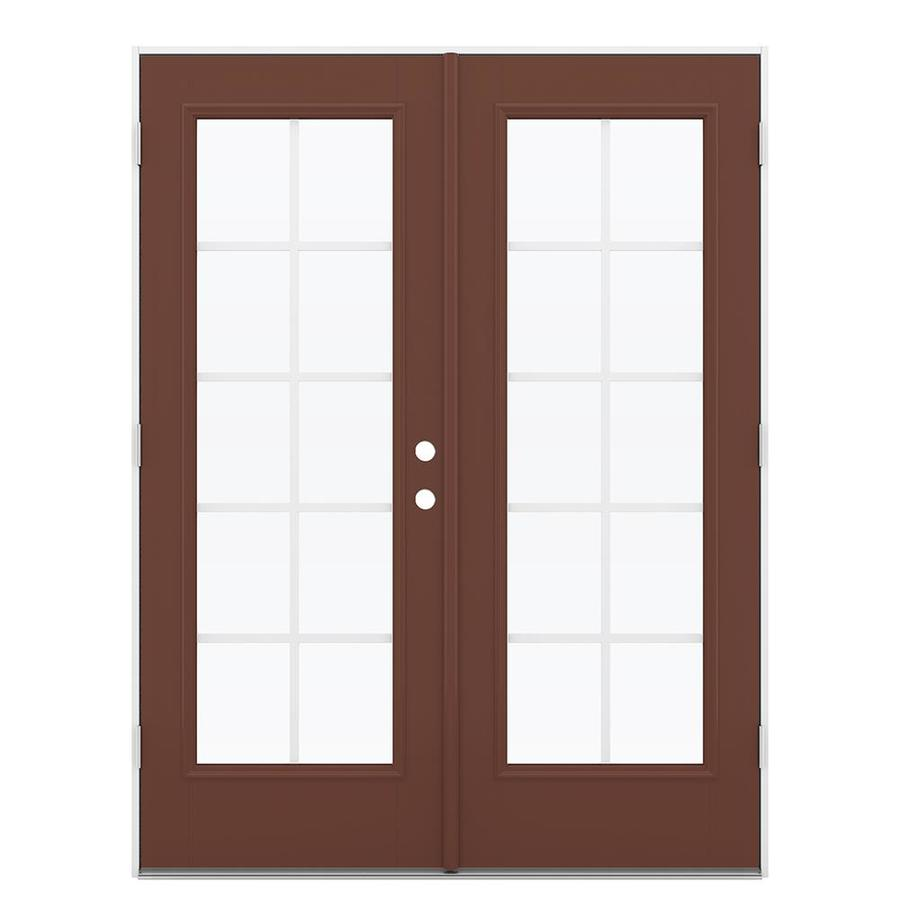 ReliaBilt 59.5-in x 79.5-in Grilles Between the Glass Right-Hand Outswing Brown Fiberglass French Patio Door