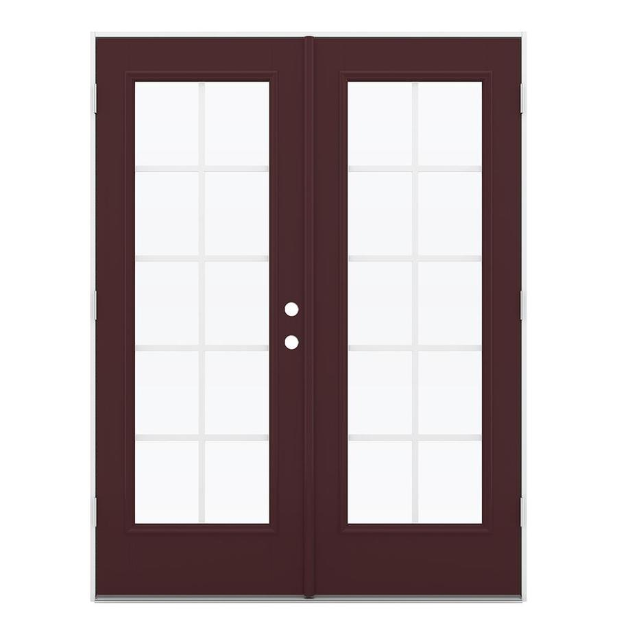 ReliaBilt 59.5-in Grilles Between the Glass Currant Fiberglass French Outswing Patio Door