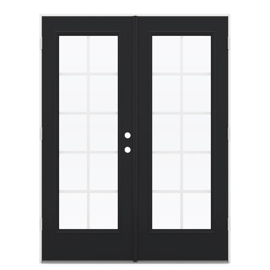 ReliaBilt 59.5-in x 79.5-in Grilles Between the Glass Right-Hand Outswing Black Fiberglass French Patio Door