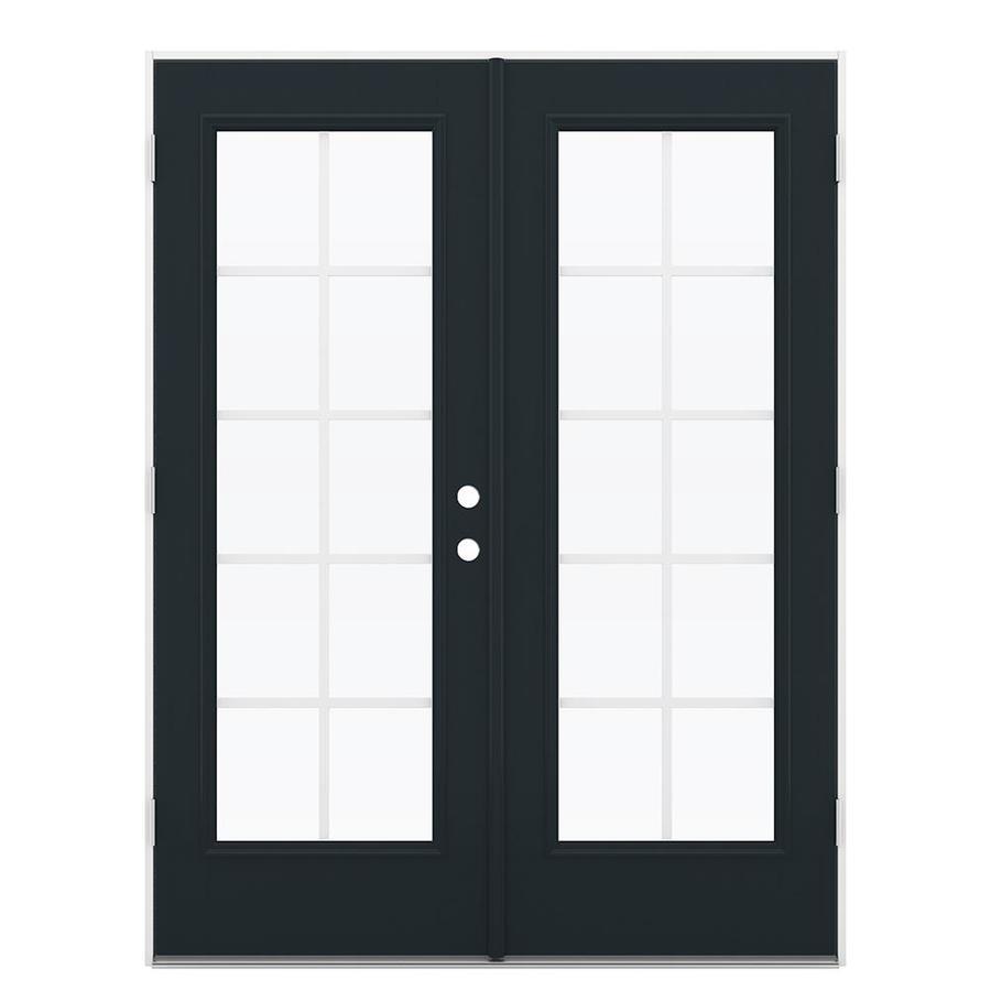 ReliaBilt 59.5-in Grilles Between the Glass Eclipse Fiberglass French Outswing Patio Door