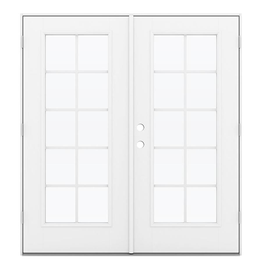ReliaBilt 71.5-in Grilles Between the Glass Primed Fiberglass French Outswing Patio Door