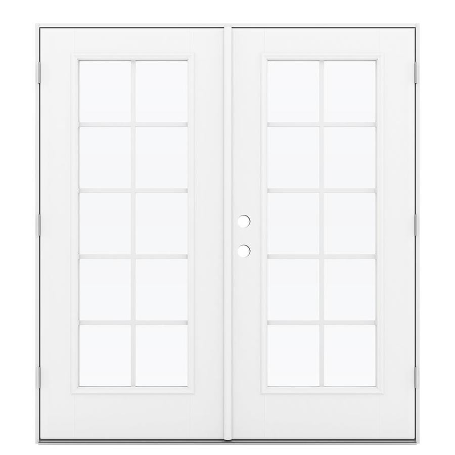 ReliaBilt 71.5-in Grilles Between the Glass Arctic White Fiberglass French Outswing Patio Door
