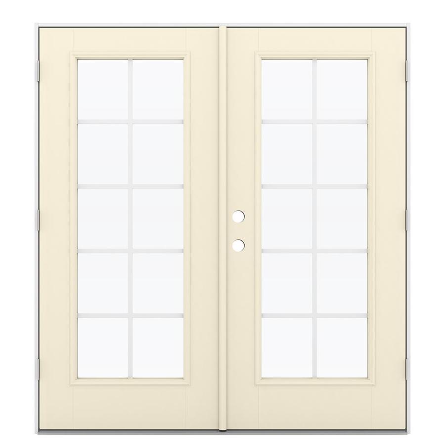 ReliaBilt 71.5-in Grilles Between the Glass Bisque Fiberglass French Outswing Patio Door