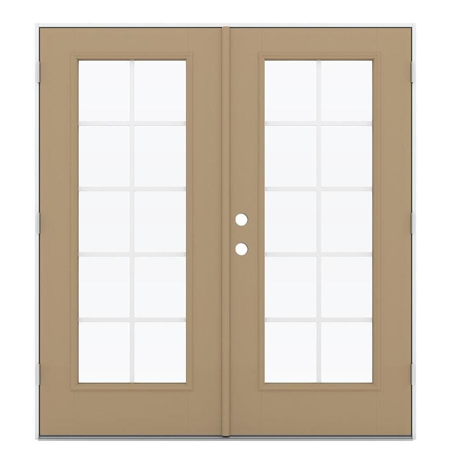 ReliaBilt 71.5-in Grilles Between the Glass Warm Wheat Fiberglass French Outswing Patio Door