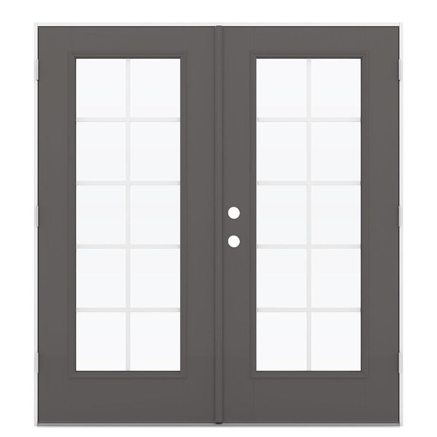 ReliaBilt 71.5-in x 78.625-in Grilles Between the Glass Left-Hand Outswing Gray Fiberglass French Patio Door