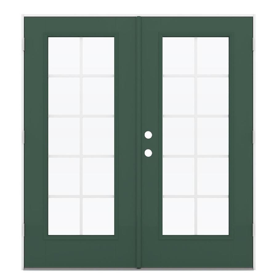 ReliaBilt 71.5-in Grilles Between the Glass Evergreen Fiberglass French Outswing Patio Door