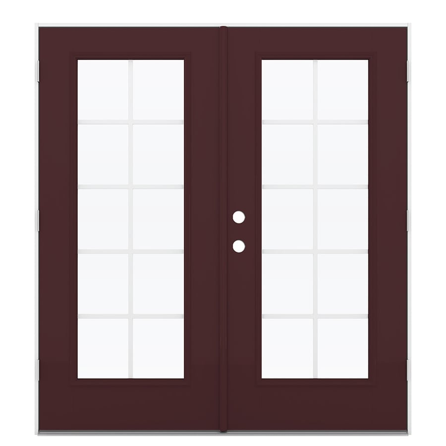 ReliaBilt 71.5-in x 78.625-in Grilles Between the Glass Left-Hand Outswing Fiberglass French Patio Door