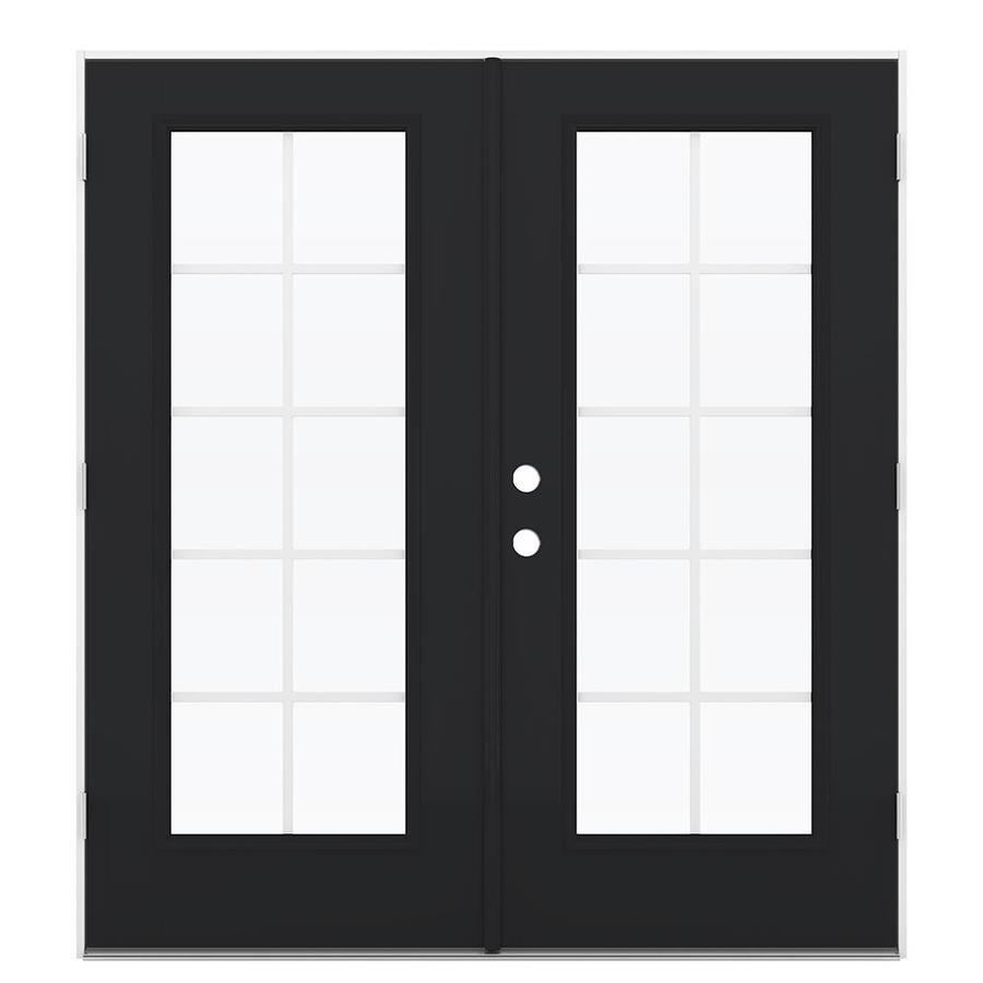 ReliaBilt 71.5-in Grilles Between the Glass Peppercorn Fiberglass French Outswing Patio Door
