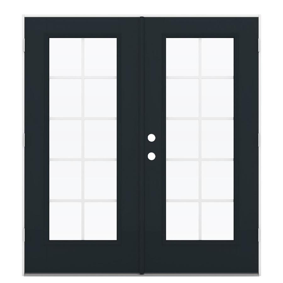 ReliaBilt 71.5-in x 79.5-in Grilles Between the Glass Left-Hand Outswing Black Fiberglass French Patio Door