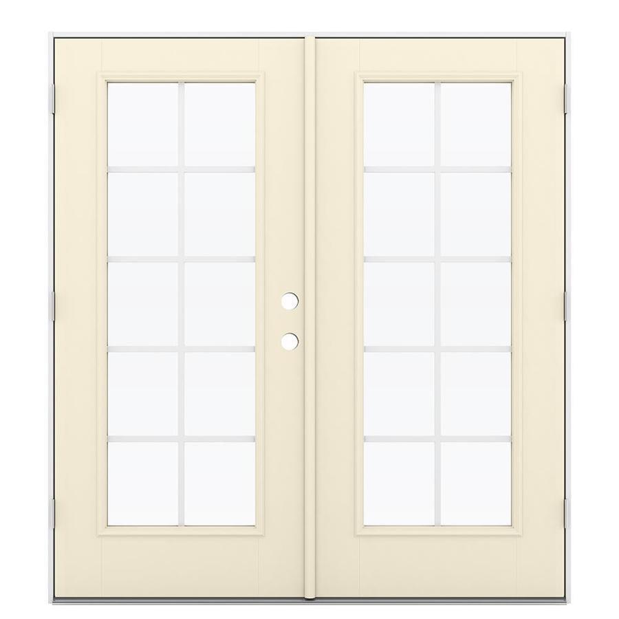 ReliaBilt 71.5-in Grilles Between the Glass Bisque Fiberglass French Outswing Patio Door