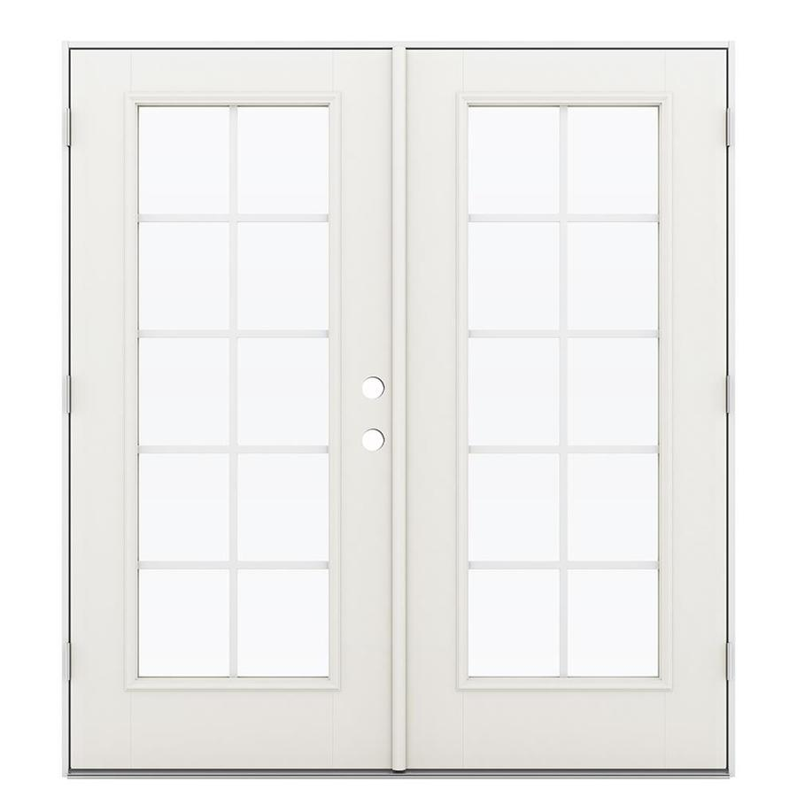 ReliaBilt 71.5-in Grilles Between the Glass Sandy Shore Fiberglass French Outswing Patio Door