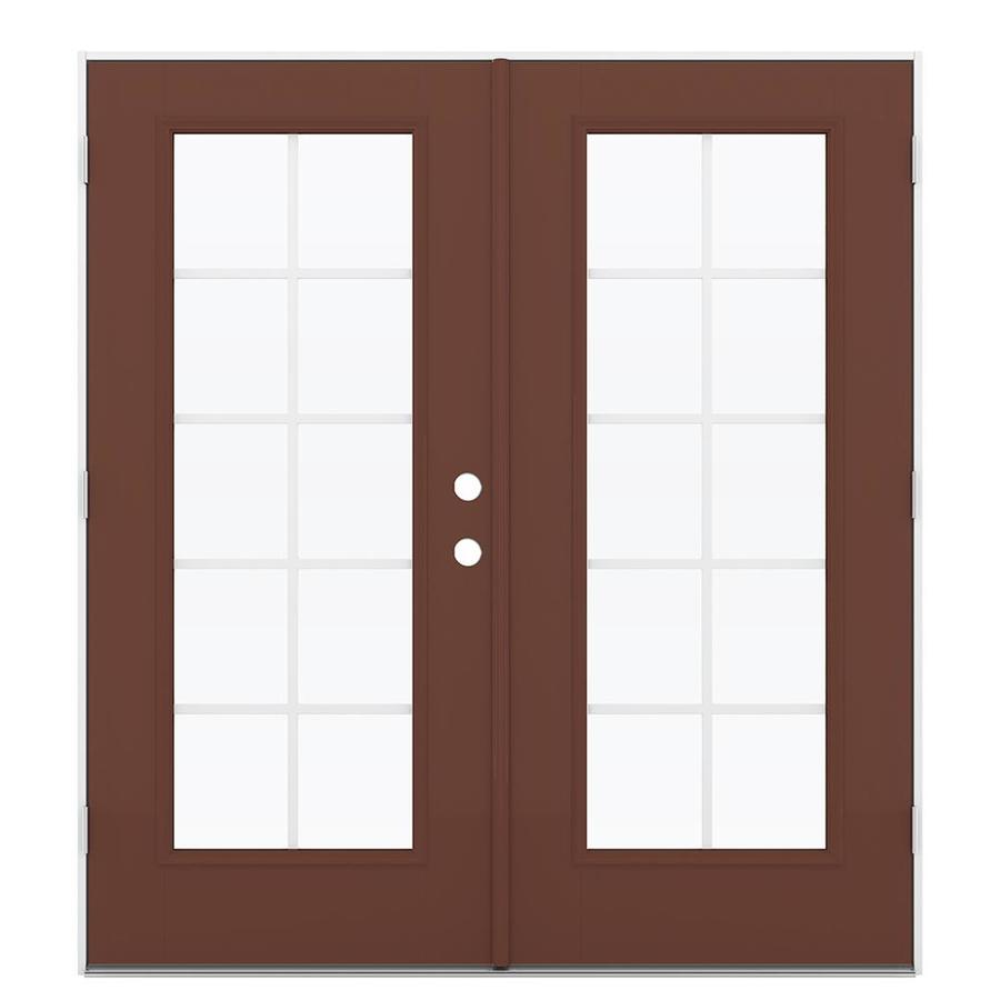ReliaBilt 71.5-in Grilles Between the Glass Foxtail Fiberglass French Outswing Patio Door