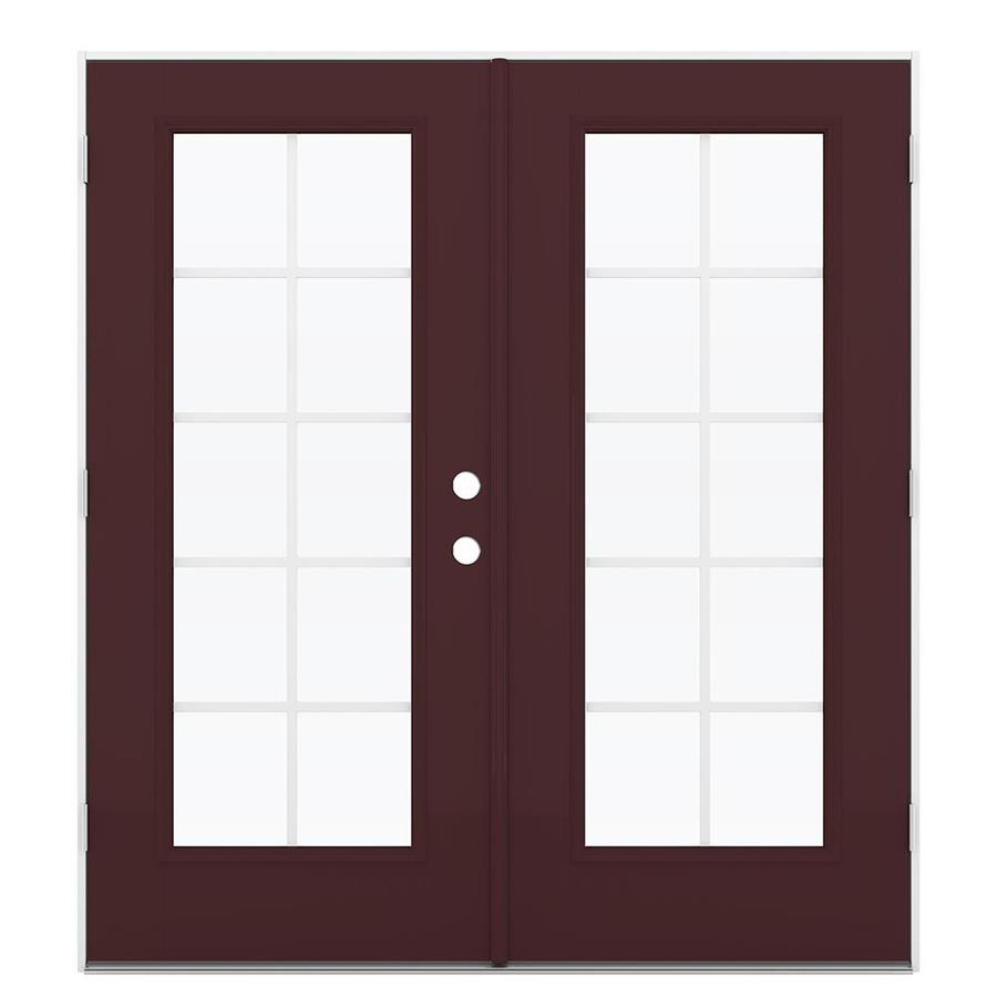 ReliaBilt 71.5-in x 79.5-in Grilles Between the Glass Right-Hand Outswing Brown Fiberglass French Patio Door