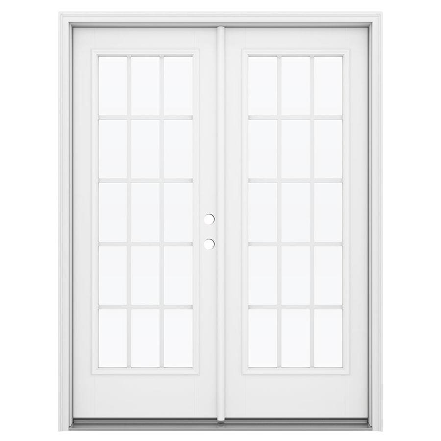 ReliaBilt 59.5-in 15-Lite Grilles Between the Glass Arctic White Fiberglass French Inswing Patio Door