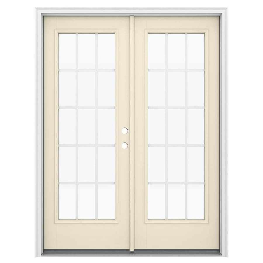 ReliaBilt 59.5-in 15-Lite Grilles Between the Glass Bisque Fiberglass French Inswing Patio Door