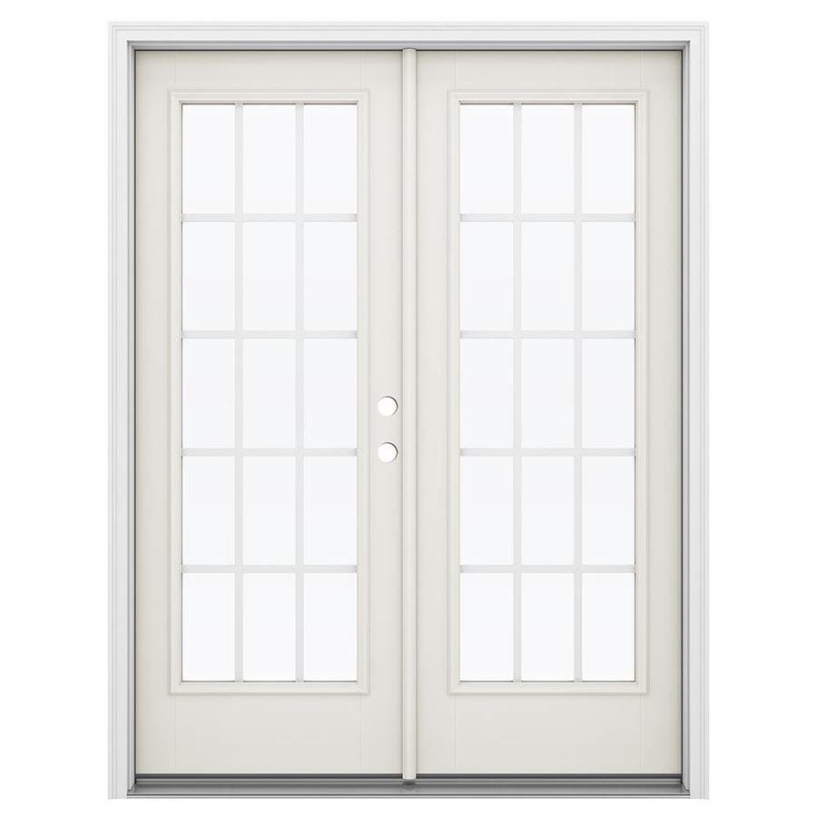 ReliaBilt 59.5-in x 79.5-in Grilles Between the Glass Left-Hand Inswing Fiberglass French Patio Door