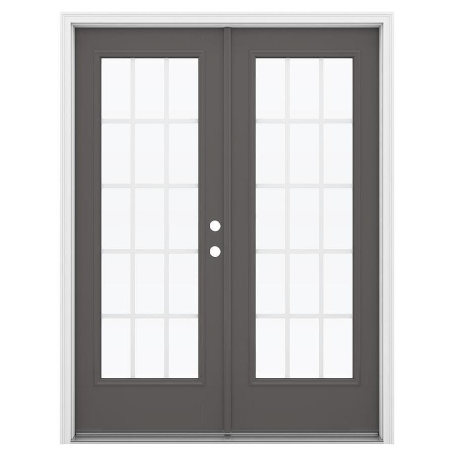ReliaBilt 59.5-in 15-Lite Grilles Between the Glass Timber Gray Fiberglass French Inswing Patio Door