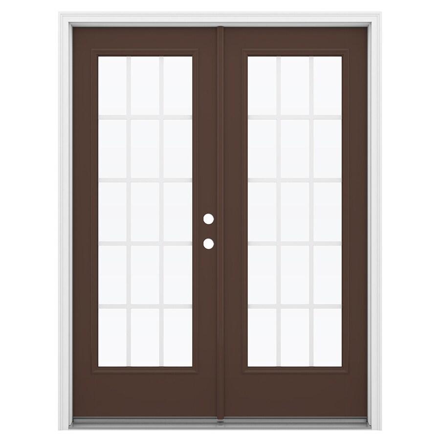 ReliaBilt 59.5-in 15-Lite Grilles Between the Glass Chococate Fiberglass French Inswing Patio Door