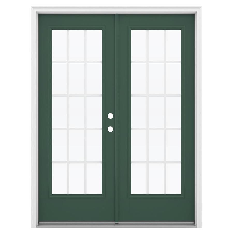ReliaBilt 59.5-in x 79.5-in Grilles Between the Glass Left-Hand Inswing Green Fiberglass French Patio Door