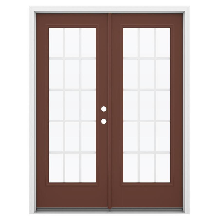 ReliaBilt 59.5-in 15-Lite Grilles Between the Glass Foxtail Fiberglass French Inswing Patio Door