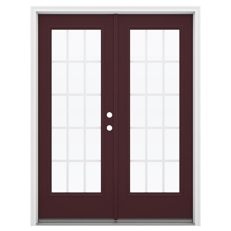 ReliaBilt 59.5-in x 79.5-in Grilles Between the Glass Left-Hand Inswing Brown Fiberglass French Patio Door