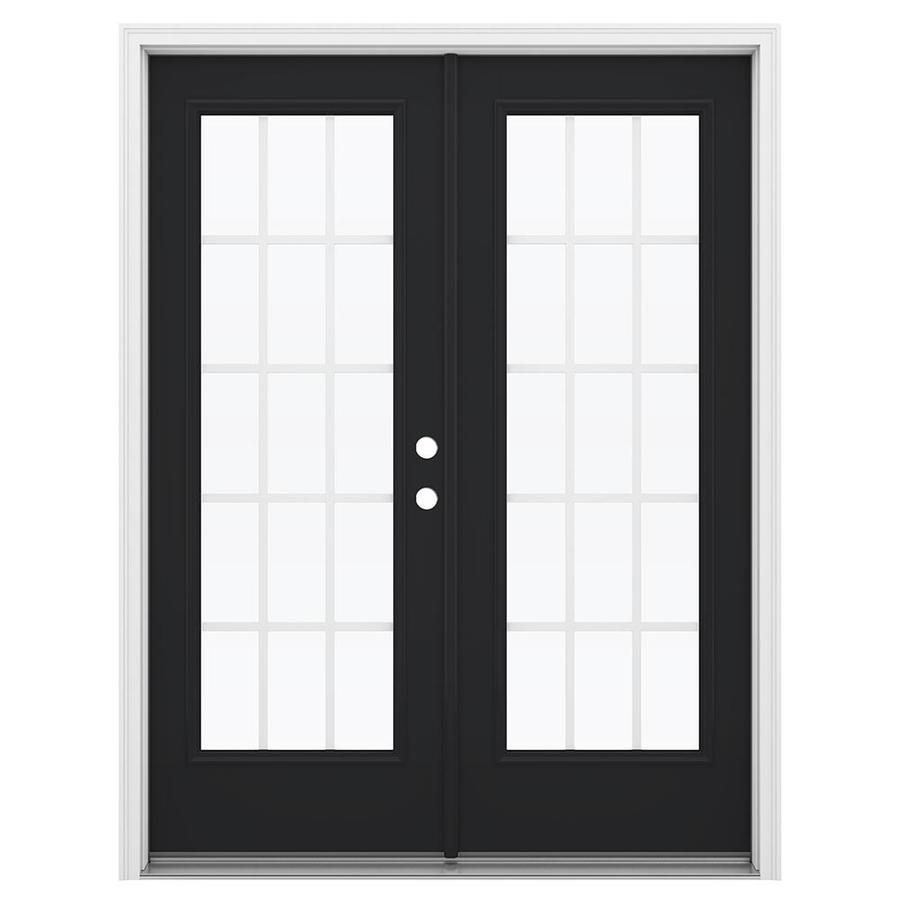 ReliaBilt 59.5-in 15-Lite Grilles Between the Glass Peppercorn Fiberglass French Inswing Patio Door