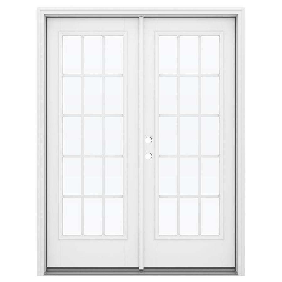 ReliaBilt 59.5-in 15-Lite Grilles Between the Glass Primed Fiberglass French Inswing Patio Door