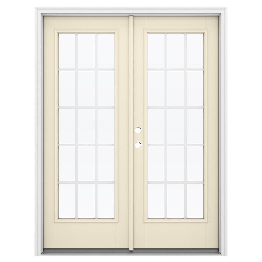 ReliaBilt 59.5-in 15-Lite Grilles Between the Glass Bisque Fiberglass French Inswing Patio Door