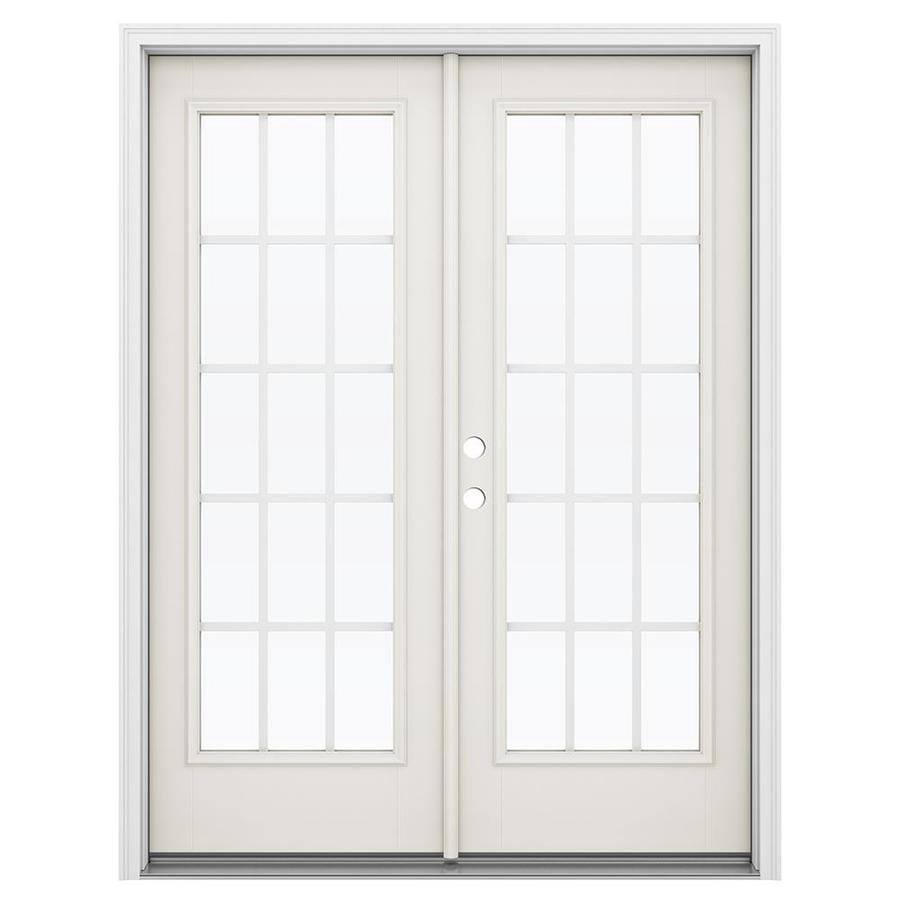 ReliaBilt 59.5-in 15-Lite Grilles Between the Glass Sandy Shore Fiberglass French Inswing Patio Door