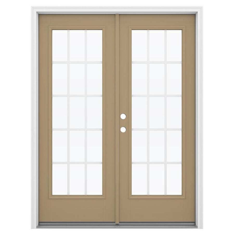 ReliaBilt 59.5-in 15-Lite Grilles Between the Glass Warm Wheat Fiberglass French Inswing Patio Door